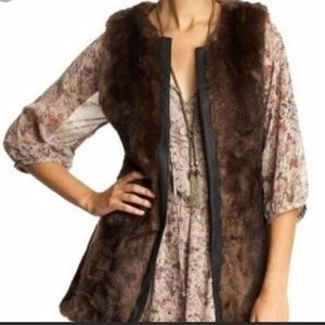 Sanctuary Brown Faux Fur Leather Trimmed Vest Sz S